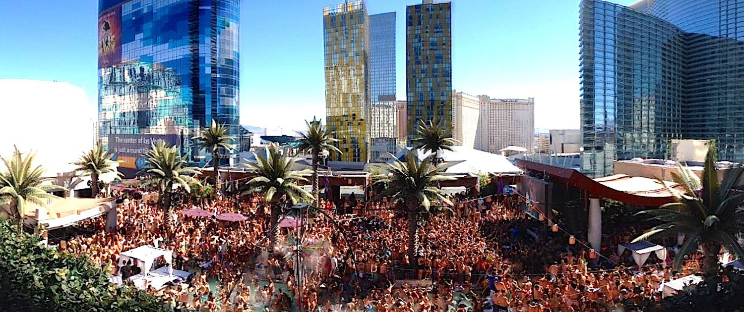 View of the Massive Pool Party Marquee Dayclub at Cosmopolitan
