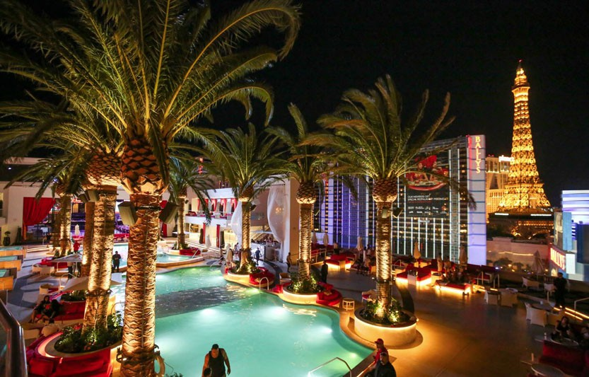 View of Las Vegas Strip from Drai's outdoor pool deck