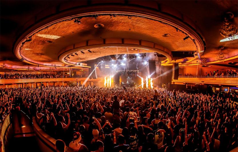 dance floor and stage of Palladium nightclub