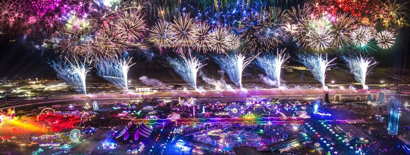 edc las vegas fireworks aerial view