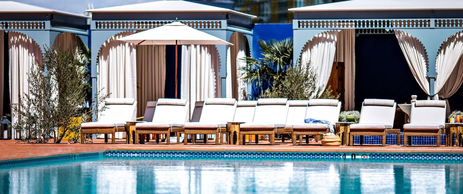 Cabanas and Lounge Chairs at JEMAA Las Vegas
