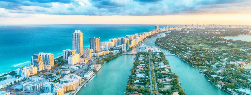 aerial view of South Beach, MIami