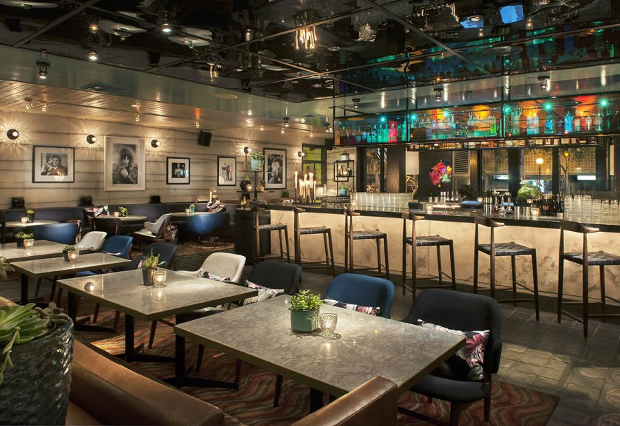 Inside view of chic club in West Hollywood called Doheny Room