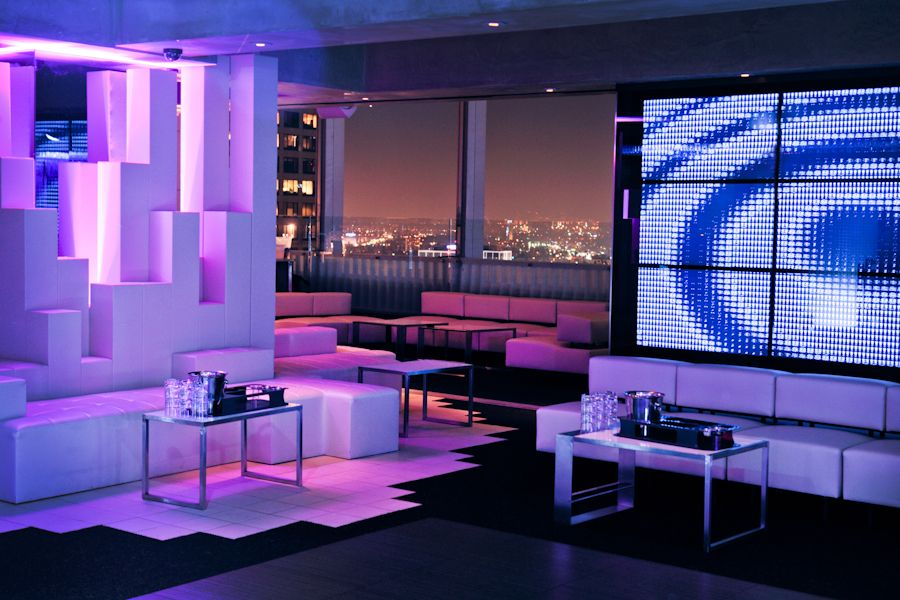 Table booths at Elevate Lounge. High floor bar lounge in Downtown LA