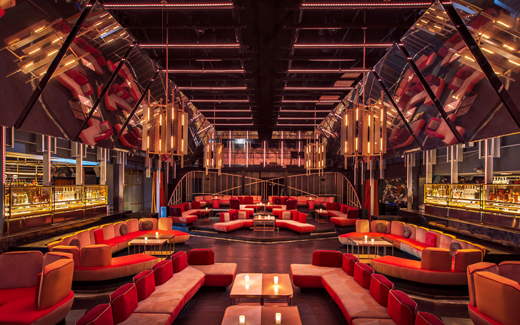 Inside view of booths at a chic night club in West Hollywood called Nightingale