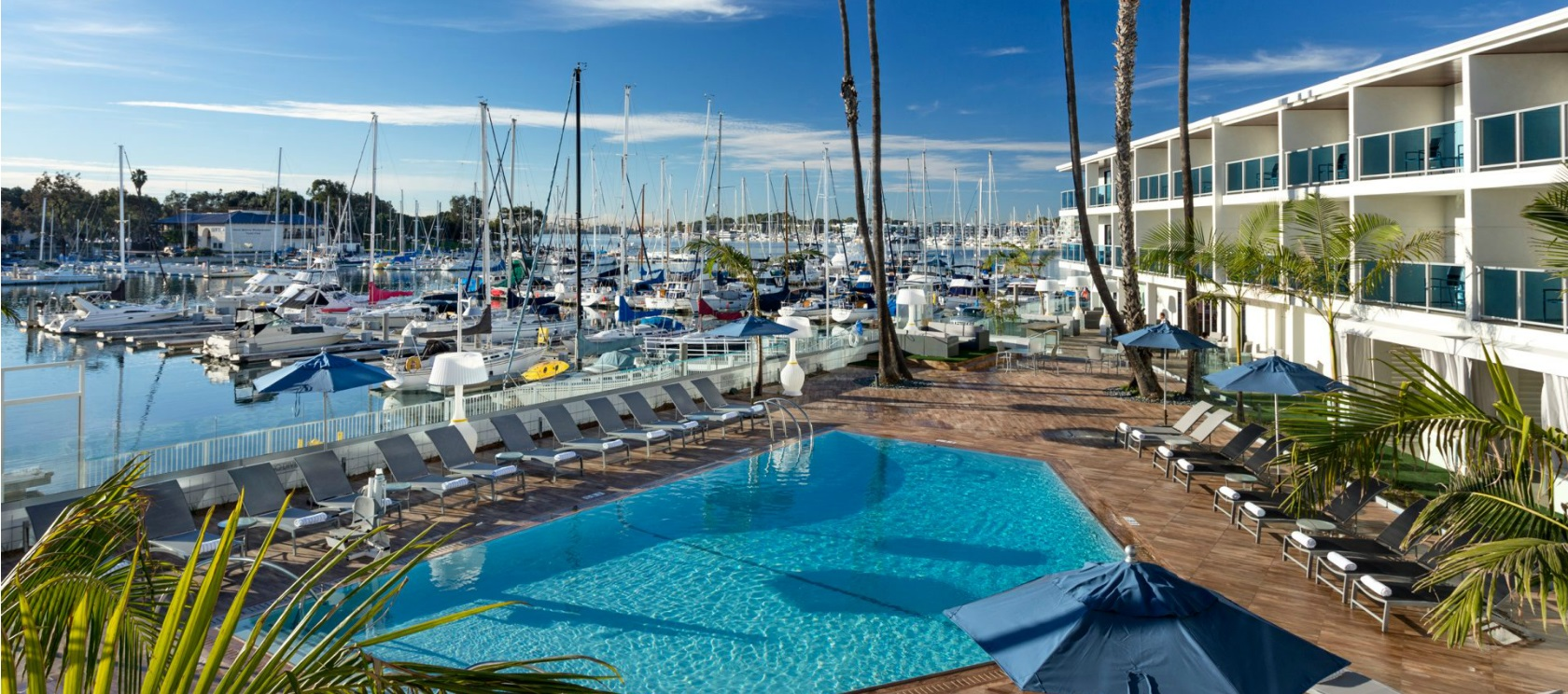 Overview look of the Marina Del Rey Hotel Pool