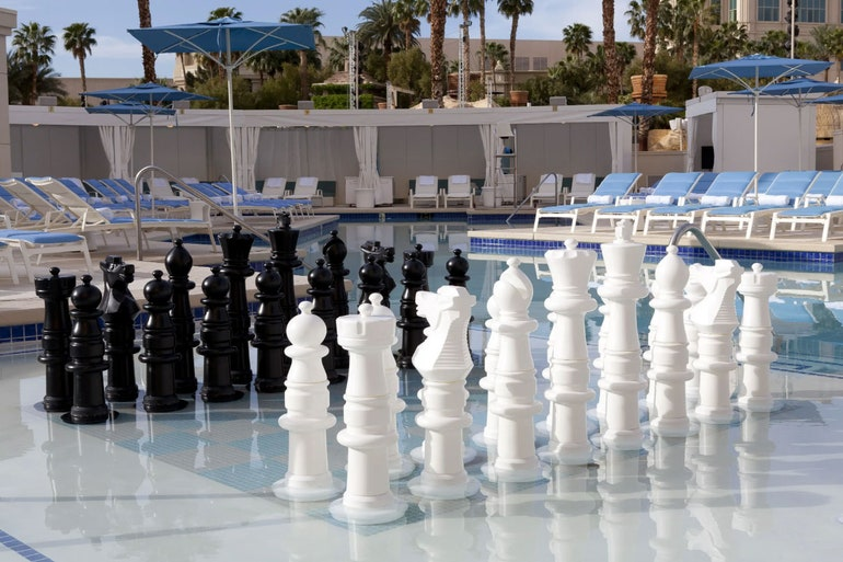 Pool chess at Delano beach club