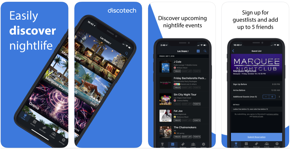 Discotech mobile app screenshots