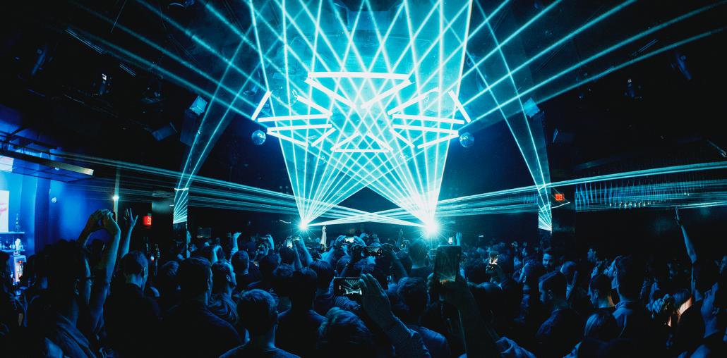 LED lights and dance floor at Bijou Boston