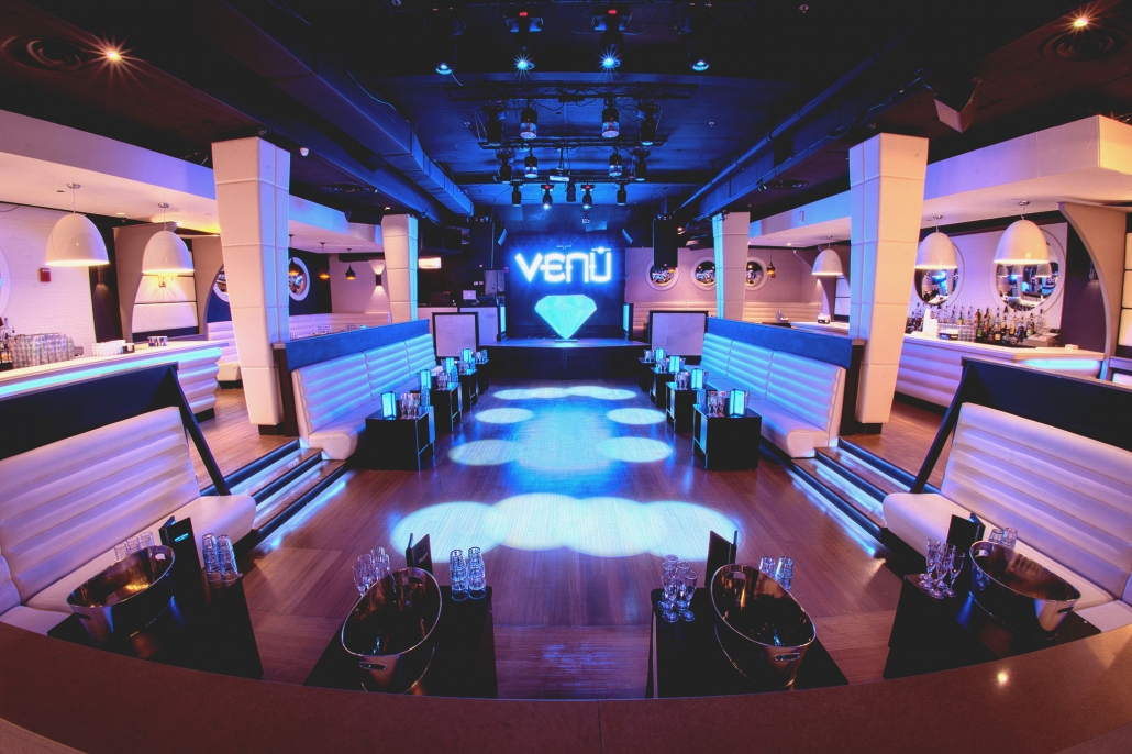 Dance floor and tables at Venu Boston