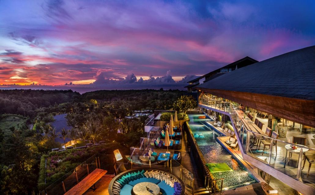 unique rooftop bar rimba jimbaran bali sunset
