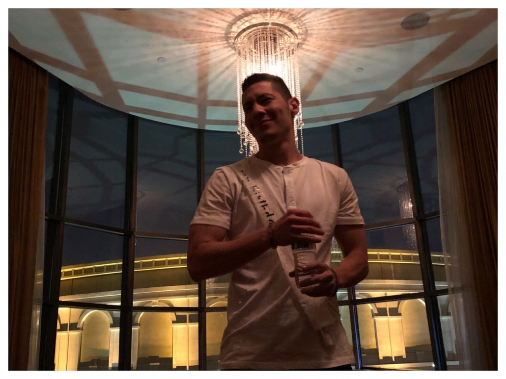 bachelor posing at Caesars palace suite - Las Vegas, Nevada