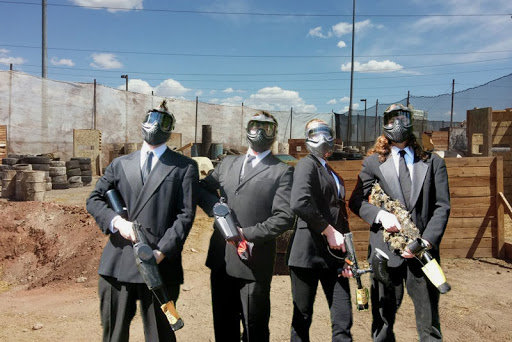 Men in suits at Las Vegas Premier Paintball