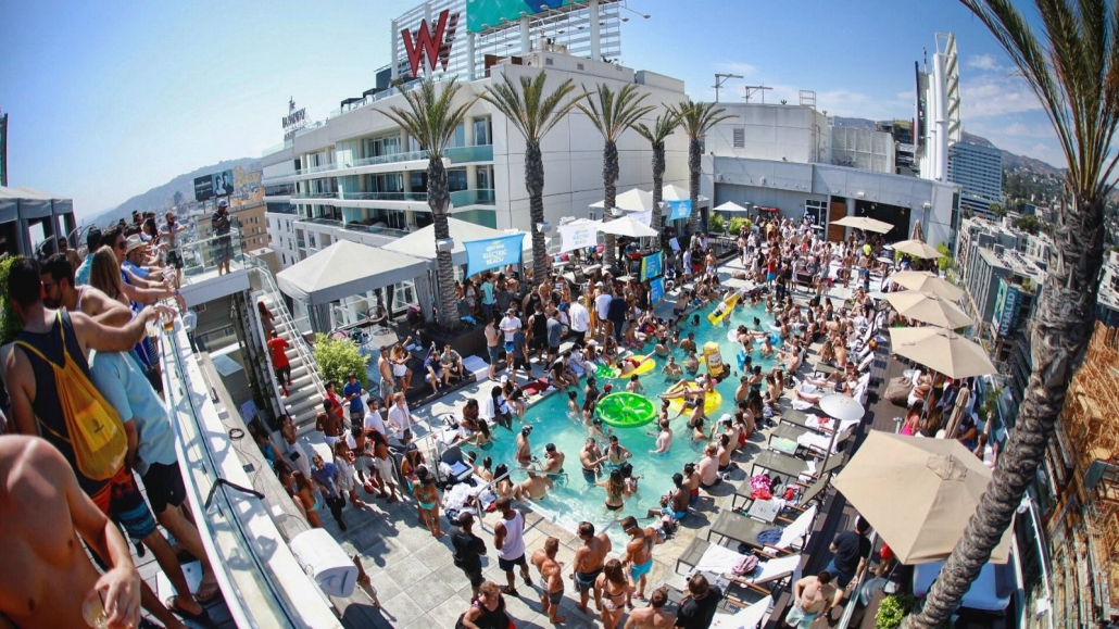 W Hollywood rooftop pool party - Los Angeles, CA