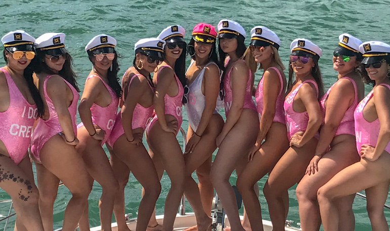 bachelorette party on booze cruise in Biscayne Bay - Miami, Florida