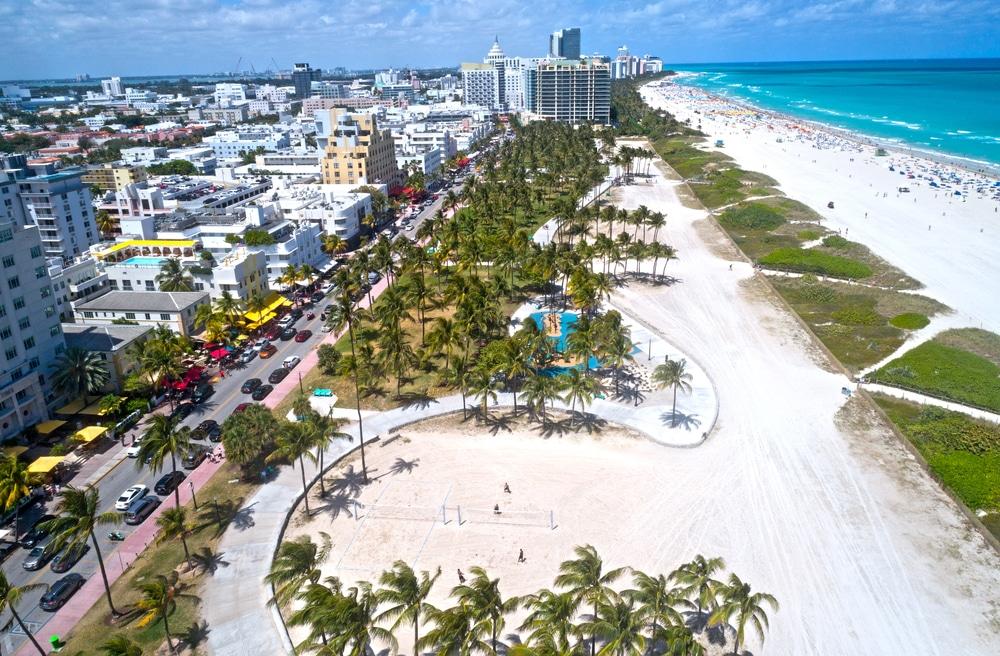 Lummus Park Beach and Ocean Ave, Miami, Florida