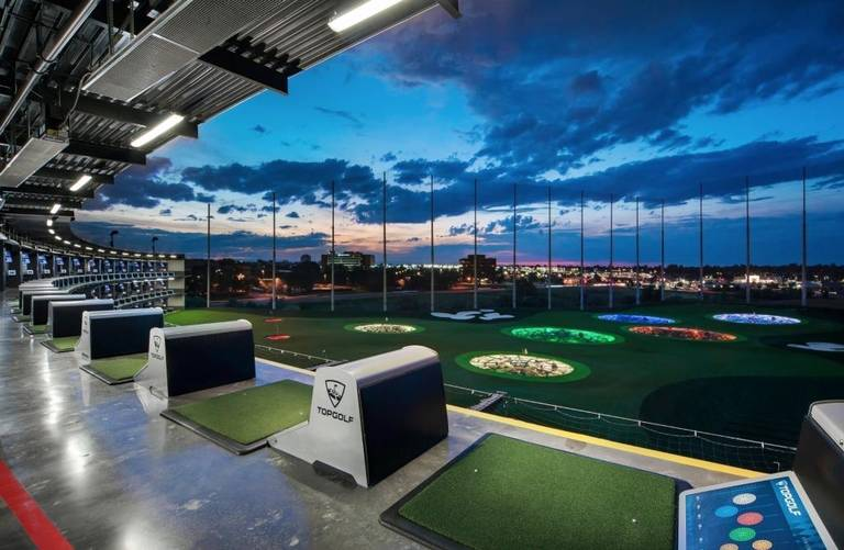 Topgolf Miami at dusk