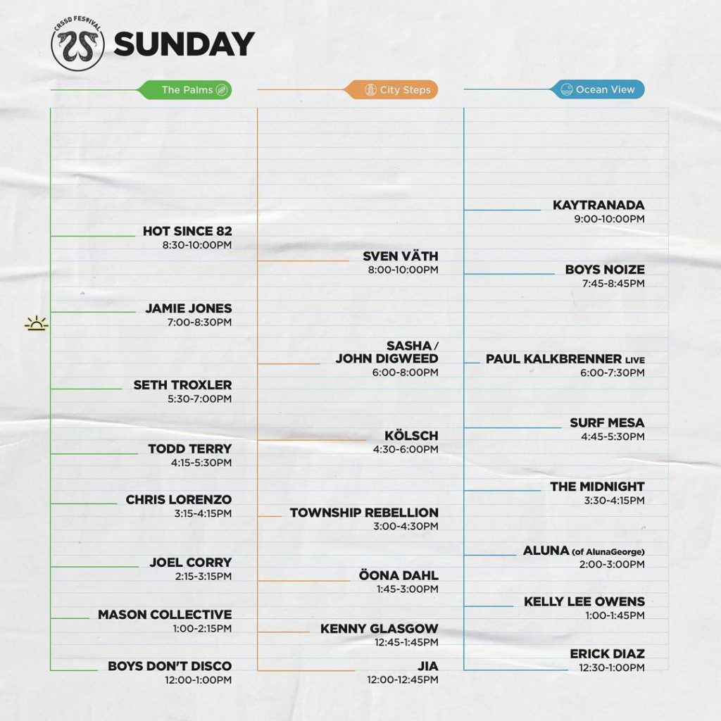 crssd festival 2021 fall saturday lineup
